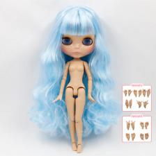 Tanned Skin Baby Blue Hair Blythe Doll 30cm Joint Body 1/6 BJD