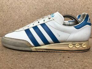 Vtg Adidas Kegler Super Made in West Germany White x Blue Men Sz UK 10 | US 10.5