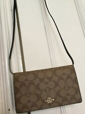 NEW COACH Hayden Brown Khaki/Black Strap Clutch Crossbody Bag