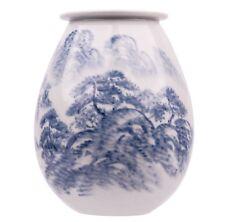 A Vintage Korean Blue and White Porcelain Decorated Landscape Vase