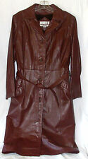Leather Jacket Belted Trench Coat Classic Directions  Brown Burgundy Cosplay