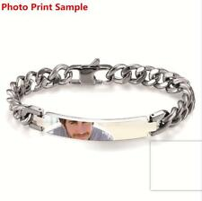 Polished Mens Stainless Steel PERSONALIZED Curb Chain Bracelet Free Engraving
