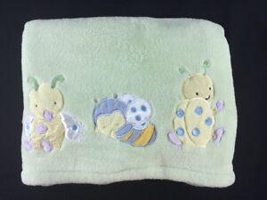 Kids Line Green Yellow Ladybug Bee Bug Plush Fleece Baby Blanket