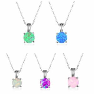 Fashion Four Claws Opal Round Pendant Silver Necklace Women Girl Jewelry Gifts