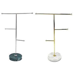Iron Plating Jewelry Hanging Organizer Display Rack Stand Holder Marble Base