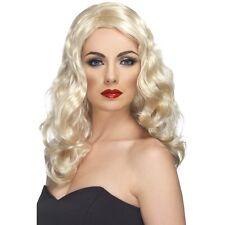 Womens 50s 60s 70s Blonde Glamorous Wig Long Wavy Fashion Pin Model Fancy Dress
