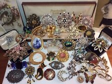 Big Quality Job Lot Vintage Brooches Art Deco -80s Marcasite Enamel Some Signed