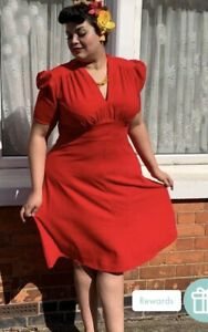 HEYDAY MARY DRESS - FIRECRACKER RED size UK 10 Vintage style 1940s