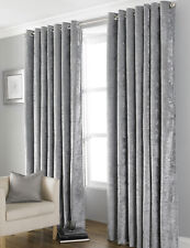 """Country Club Bliss Curtains, Grey 46"""" x 54"""" Modern Home Crushed Velvet Style"""