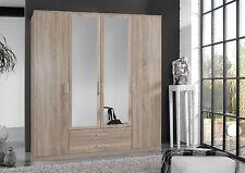SlumberHaus German 'Berlin' 4 Door & 2 Drawers Oak and Mirror Door Wardrobe