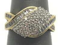 Sterling Silver Gold Tone Cubic Zirconia Cluster - Baguette Curved Cocktail Ring