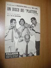 SPARTITO MUSICALE UN DISCO DEI PLATTERS SLOW GIACOBETTI V.SAVONA QUARTETTO CETRA