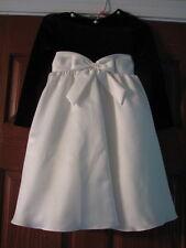 Girls black off white satin dress size 6 long sleeve bow  EUC Bonniie Jean