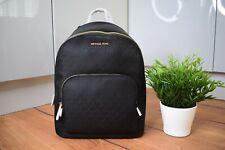 Michael Kors Connie Signature MK Black Cotton Zip Backpack Logo Womens BNWT