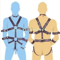 Male Faux Leather Bodysuit Body Harness Strap Gay Interest Belt Clubwear Costume