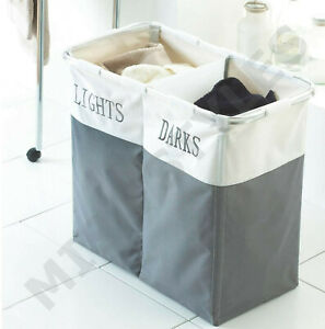 GREY DARK AND LIGHTS 2 COMPARTMENT LAUNDRY BASKET WASHING CLOTHES STORAGE HAMPER