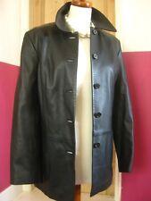 Ladies M&S black real leather JACKET BLAZER COAT UK 20 18 hip length long line