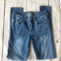 American Eagle Women's Sz 4 Jeans Jegging Distressed High Rise Low Rise Stretch