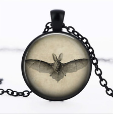 Black Bat from Black Glass Cabochon Necklace chain Pendant Wholesale