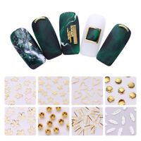 3D Nail Art Decoration Gold Silver Metal Rivets Studs Starfish Shell Feather DIY