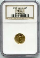2003 Gold Eagle 1/10 oz $5 NGC Graded MS 70 Coin