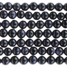 4mm Blue Goldstone (man-made) Round Beads (100 +/- per strand)