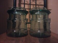 Antique Vintage Milk Jug style Green Tint Apothecary Jar (2) Display Canisters