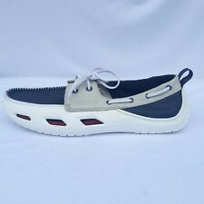 Crocs Classic Boat Shoe White/Navy Blue  Size Mens 11 - Rare Uncirculated Sample