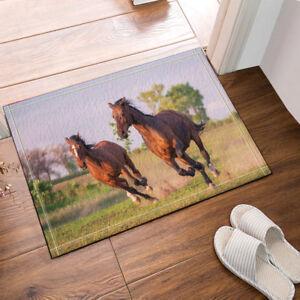 Animal Horse Decor Various Pattern Art Non Slip Bath Door Mat Flannel Rug Carpet