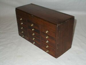 ANTIQUE OAK WATCHMAKERS 15 DRAWER COLLECTORS CABINET WORK BOX FOR SMALL PARTS