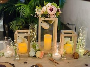 Wooden Candle Stand, Lantern for Indoor/Outdoor use,Contemporary Chic Styling, C