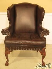 29346EC: OLD TANNERY Leather Clawfoot Wing Chair w. Claw Feet