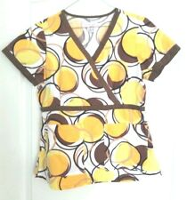 Koi scrub top, S, womens, white with brown, orange and yellow big polkadots