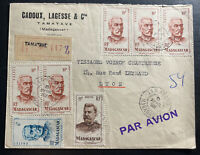 1952 Antananarivo Madagascar Commercial Airmail Cover To Lyon France