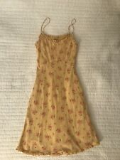 Ella Moss Yellow Floral Summer Cotton Dress with Ruffles & Spaghetti Straps Sz 6