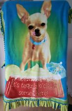 Chihuahua Dog Tequila O'Clock No-Sew Fleece Blanket