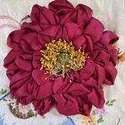 Vintage+Antique+handmade+Red+Silk+ribbonwork+flower+Trim+Appliqu%C3%A9+Millinery+Hat