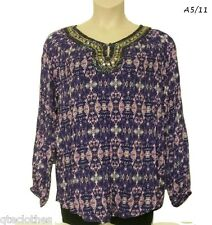 JONES NEW YORK $119 Sexy Violet Long Sleeve Beaded Tunic Henley Blouse Top L QCO