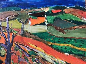 Paysage de Provence joli tableau Fauve dlg Pierre Ambrogiani h/isorel 42x53 cm