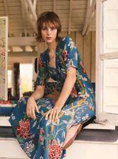 2018 Trend GP & J BAKER X H&M Blue Floral Patterned Short Sleeve Tea Dress UK12