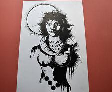 PORTRAIT de FEMME Dessin Fantastique Encre 1970 style Carzou