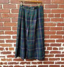 Vtg Womens Jg Hook Wool Skirt Sz 12 Blue Green Tartan Plaid Made in Usa