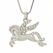 W Swarovski Crystal PEGASUS Flying Wings Horse Charm Gift AB Pendant Necklace