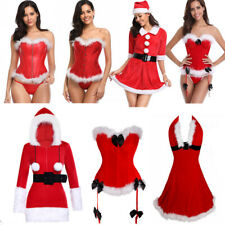 Women Mrs Claus Santa Christmas Corset Sets Sexy Party XMAS Basques Fancy Dress