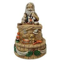 Vintage Flambro Procelain Antique Santa Workshop Musical Figurine Christmas 1990