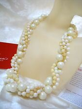 TWISTED LONG MAJORCA PEARL NECKLACE WHITE PASTEL MAJORCA PEARLS GOLD FILLE CLASP