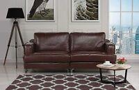 Ultra Modern Plush Leather Living Room Sofa (Dark Brown)