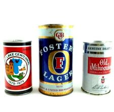 Flat Top Beer Can Lot 1960s and 70s Three Cans Fosters and More Bar Decor