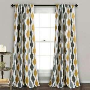 Mid Century Geo Room Darkening Window Curtain Panels Gold/Gray Set 52 X 84