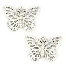 10 Tibetan Silver Butterfly Pendant Charms  17 mm x 25 mm